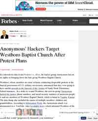 Anonymous Hackers Target Westboro Baptist Church After Protest: Forbes.com
