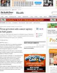 Texas governor asks cancer agency to halt grants: Seattle Times